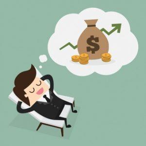 Ležiaci muž snívajúci o peniazoch