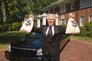 Bohatý muž s vreckami peňazí